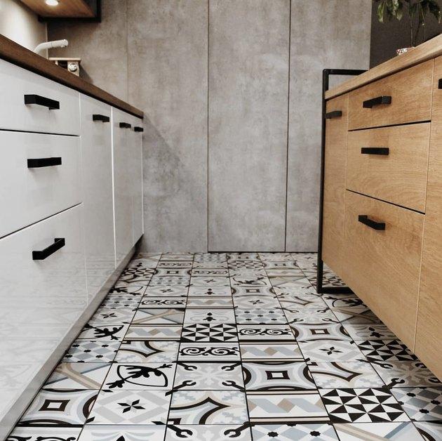 kitchen floor tile patterns in galley kitchen with wood island