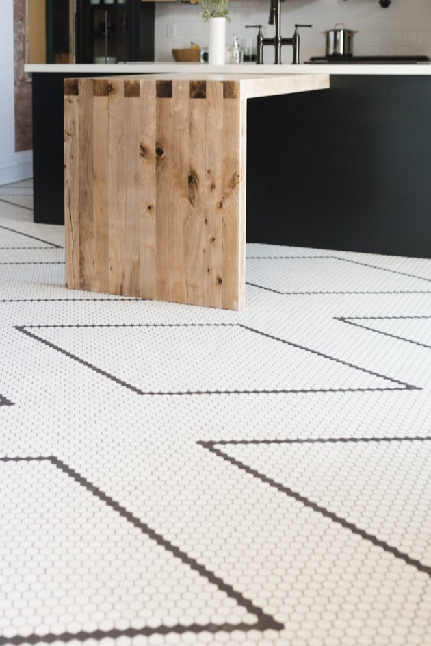 diamond kitchen floor tile patterns in white and black kitchen with wood counter