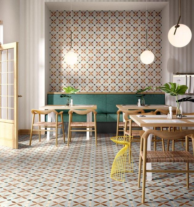 multicolored kitchen floor tile patterns in restaurant