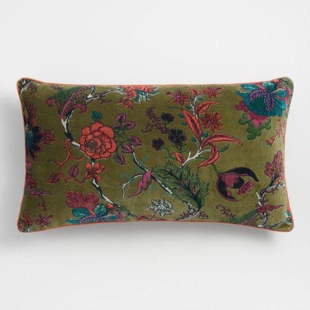 World Market Green Floral Lumbar Pillow, $24.99