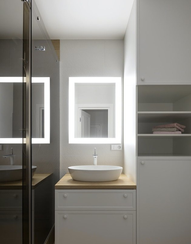 Integrated light in bathroom mirror lighting ideas with basin sink