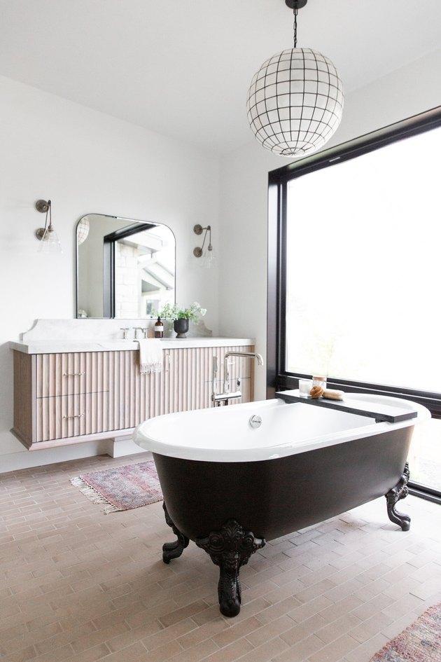 floating wood master bathroom vanity