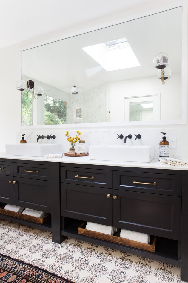 black double vanity with bathroom mirror lighting ideas and black faucets