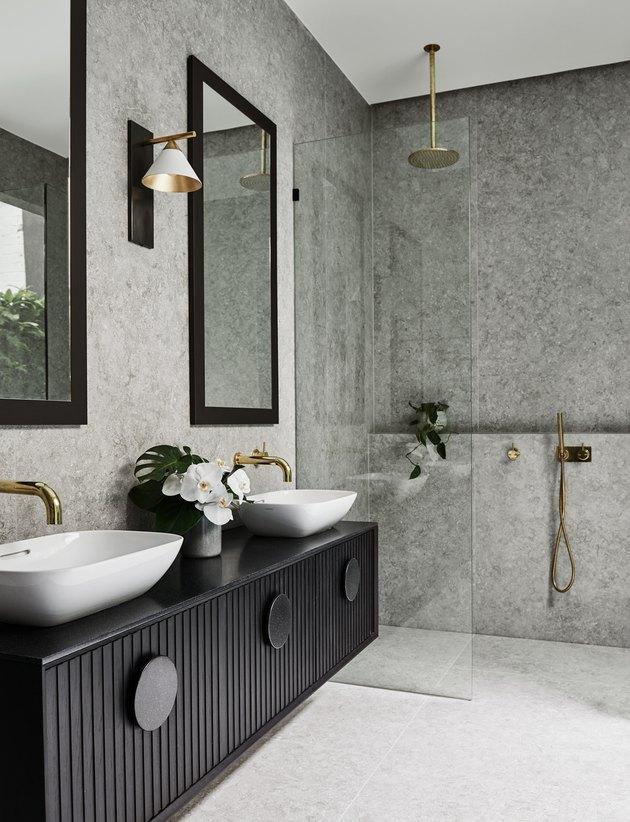 black double master bathroom vanity in gray bathroom