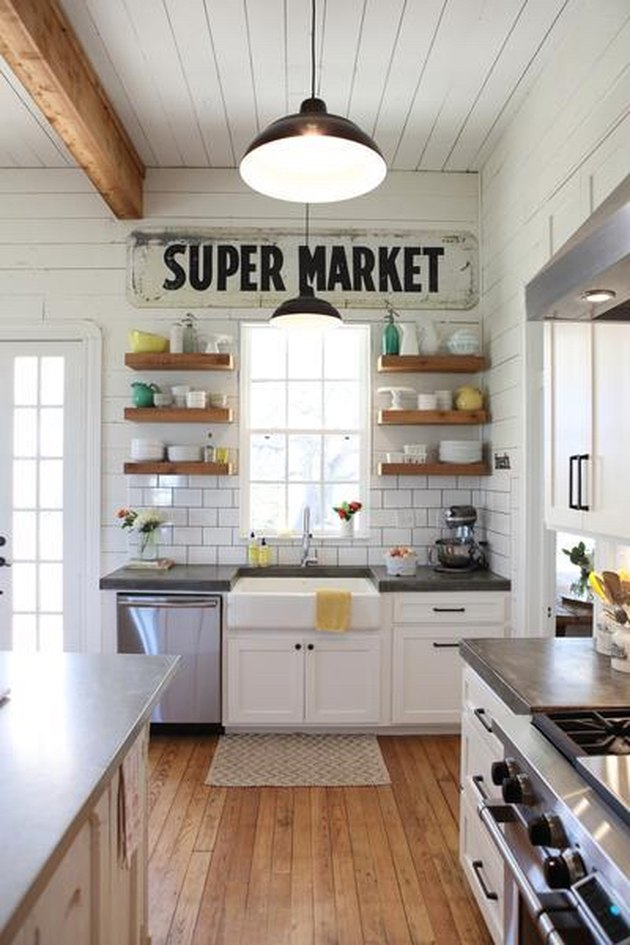 small kitchen idea with exposed wood beams and open shelving