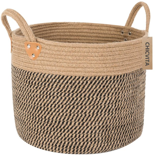 Woven storage basket with two handles and black weaving accents
