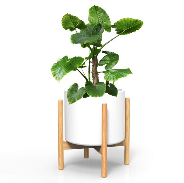White mid-century plant stand with wooden legs