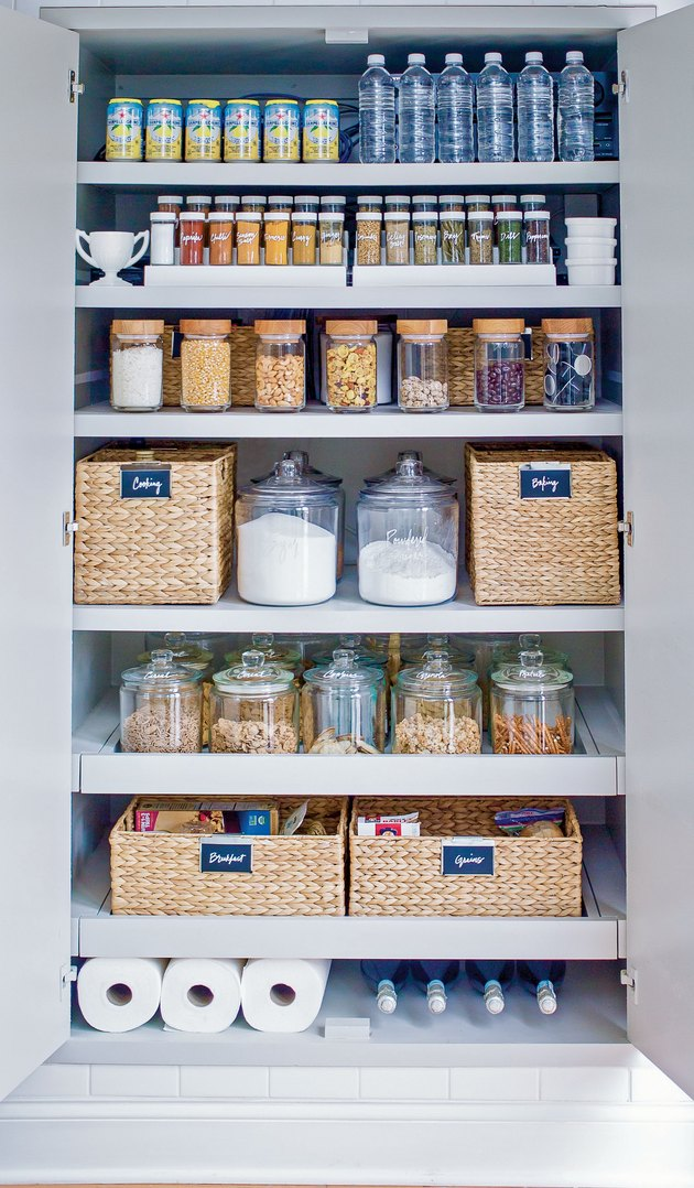 small kitchen storage idea in pantry with labels