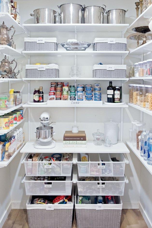 small kitchen storage ideas in organized pantry