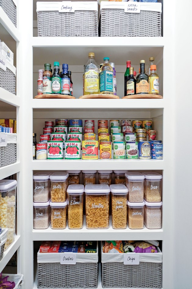 small kitchen storage ideas in organized pantry with baskets