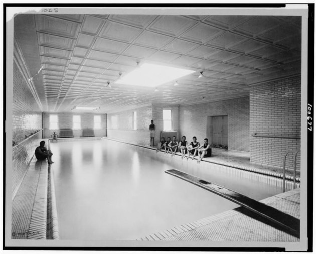 swimming pool subway tile walls