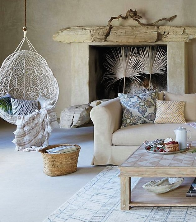 Boho chic dream catcher white weave fireplace with palms