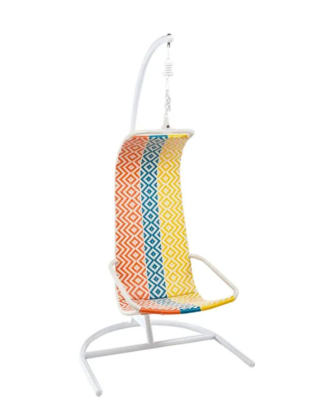 Retro orange blue yellow geometric hanging chair