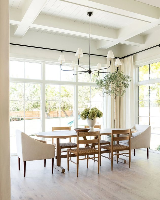 traditional dining room with long table and chairs