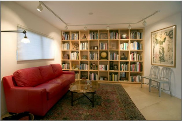 basement apartment with wall shelves, red leather couch, and track lighting