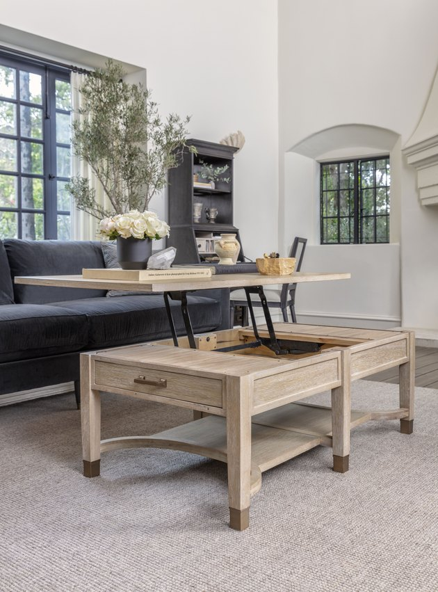 lift-top coffee table in living room by Nate Berkus and Jeremiah Brent for Living Spaces