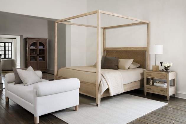 canopy bed in neutral bedroom with daybed by Nate Berkus and Jeremiah Brent for Living Spaces