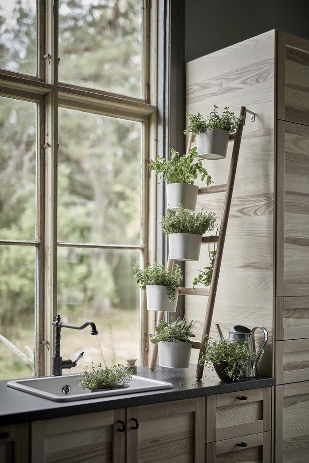 kitchen window idea with wooden plant stand in kitchen window