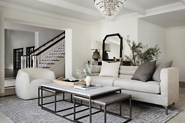 nesting coffee tables in white living room by Nate Berkus and Jeremiah Brent for Living Spaces