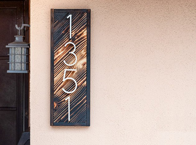 DIY house number sign with burned wood