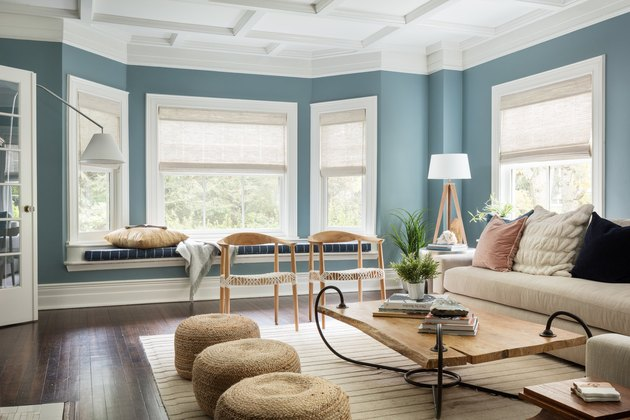 blue living room idea with neutral palette
