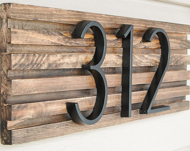 DIY house number sign with textured background
