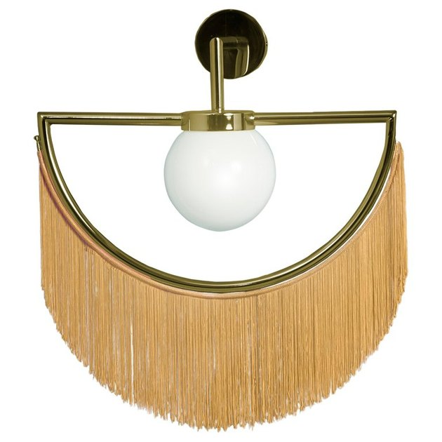 yellow and gold fringed wall lamp by houtique