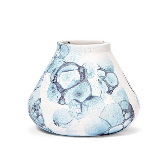blue glazed ceramic bubble vase by oddness
