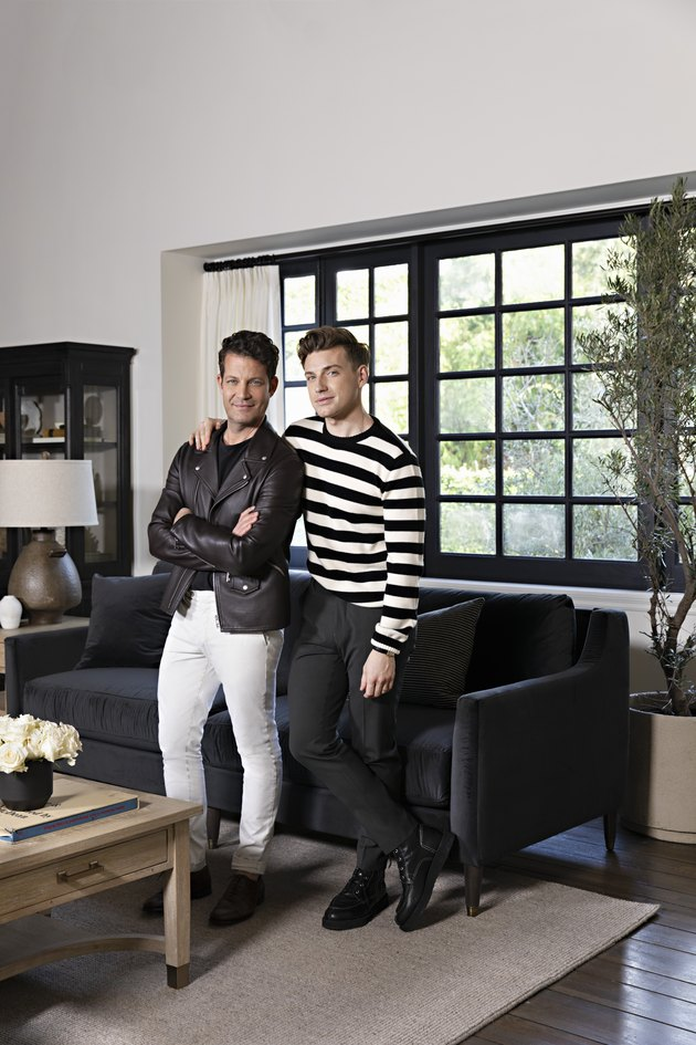 Nate Berkus and Jeremiah Brent for Living Spaces in black and white living room