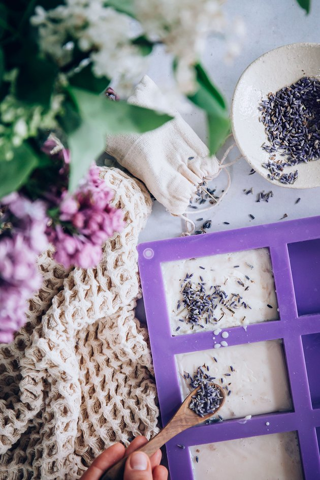 Adding lavender buds to goal milk soap