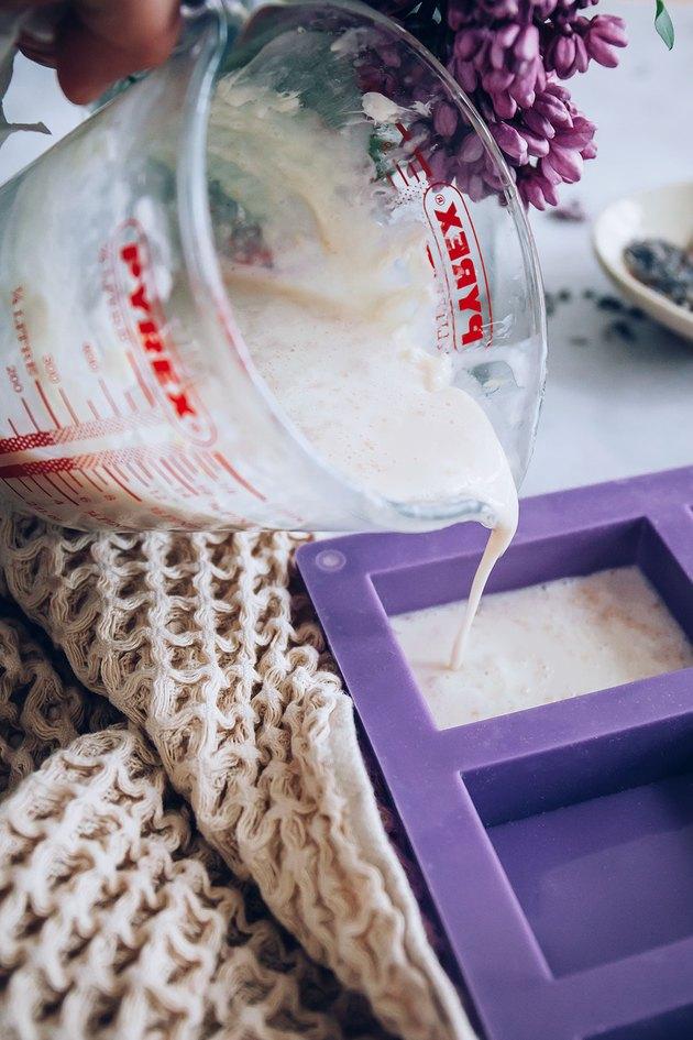 Pour soap into mold