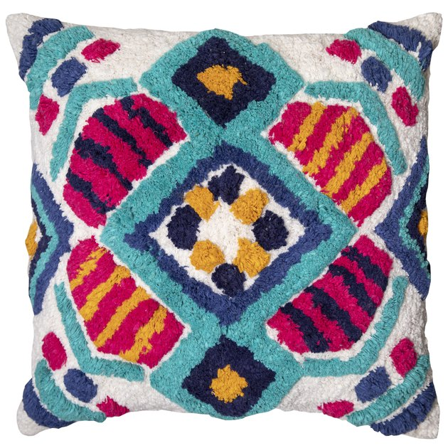 "Better Homes & Gardens Lima Print Tufted Decorative Throw Pillow, 18"" x 18"""