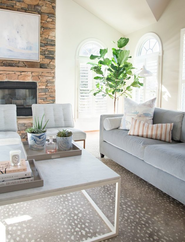 beige living room idea with gray sofa by elizabeth lawson design