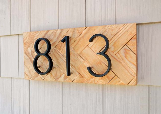 DIY house number sign with herringbone background