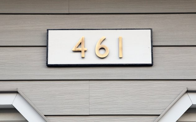 DIY house number sign with brass numbers