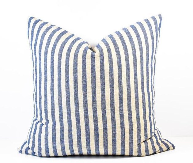 White and denim-colored thinly striped square throw pillow