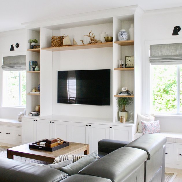 Built-in living room storage idea framing television