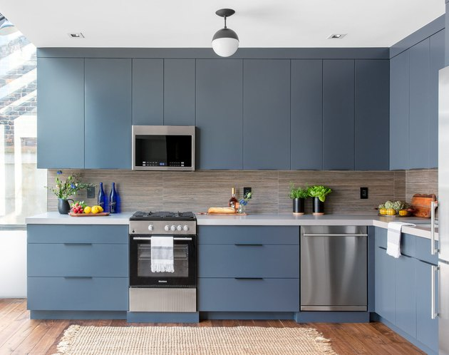 kitchen cabinet color idea with blue cabinets and wood floor