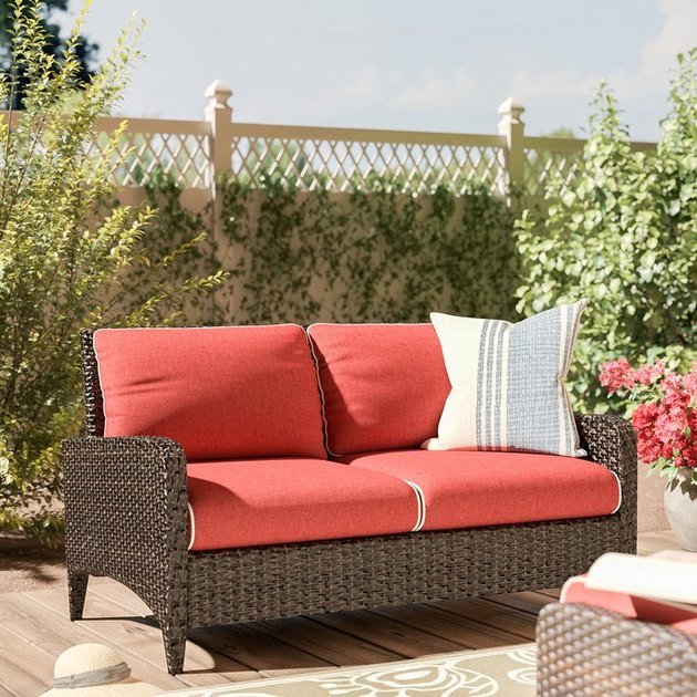 red outdoor loveseat