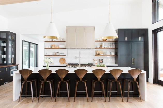 Kitchen island lighting idea with oversize cone shaped pendants