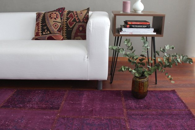 Flatweave area rug in living room with plant