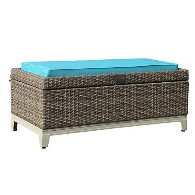 turquoise wicker storage bench