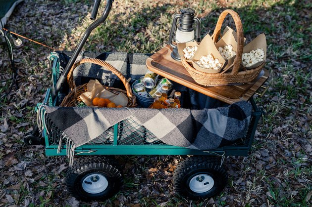 Green garden wagon filled with blanket, snacks and drinks