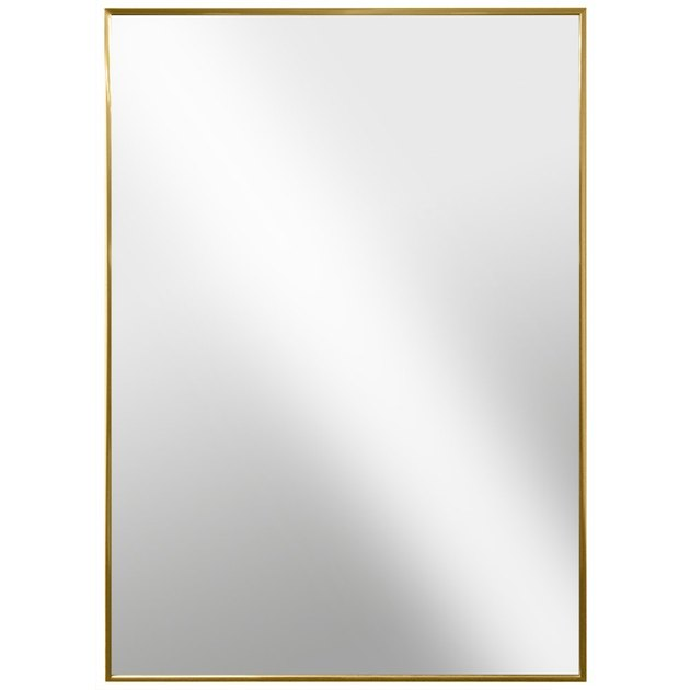Rectangular wall mirror with thin brass border