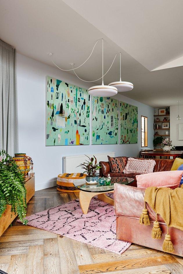 living room lighting idea with hanging pendants