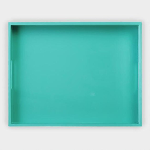 Bright turquoise lacquer tray