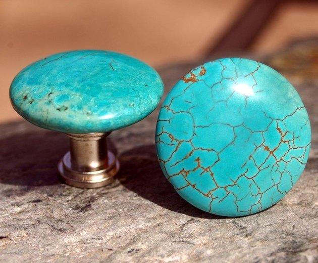 Turquoise knob pulls