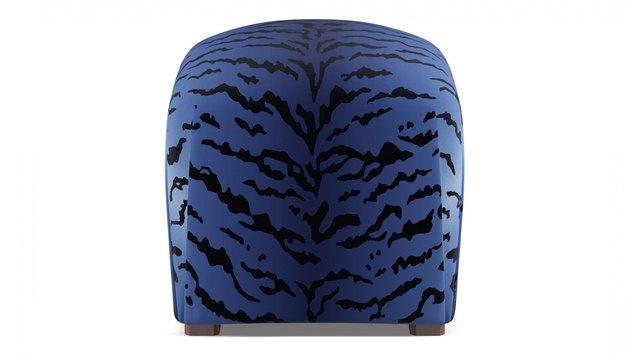 blue tiger patterned ottoman
