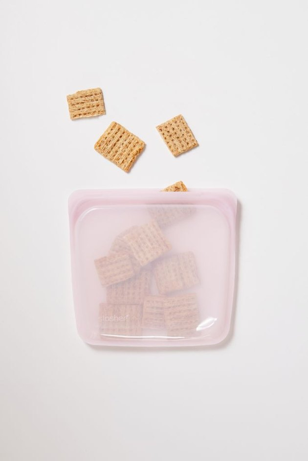 cereal in pink silicone bag
