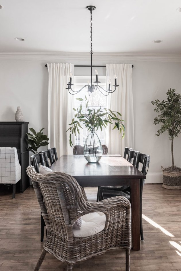 Pretty and simple dining room with black candelabra traditional dining room lighting